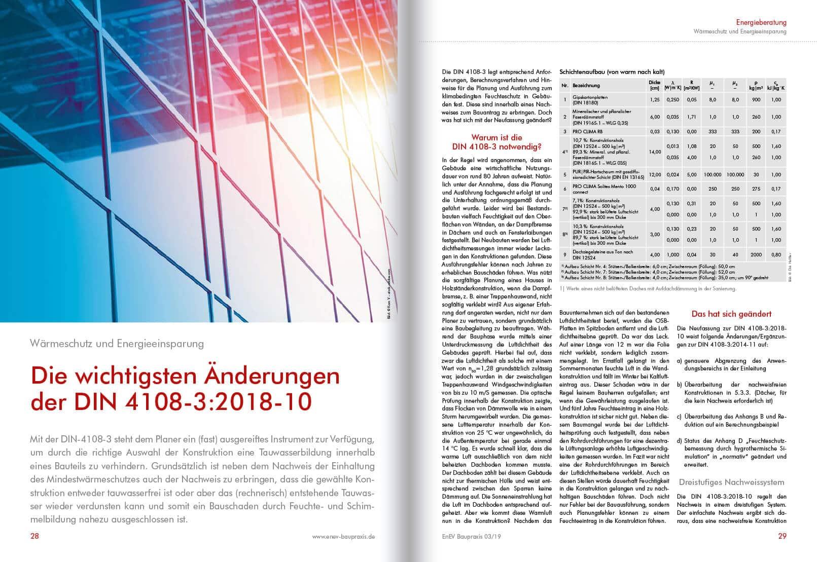 Die wichtigsten Änderungen der DIN 4108 1