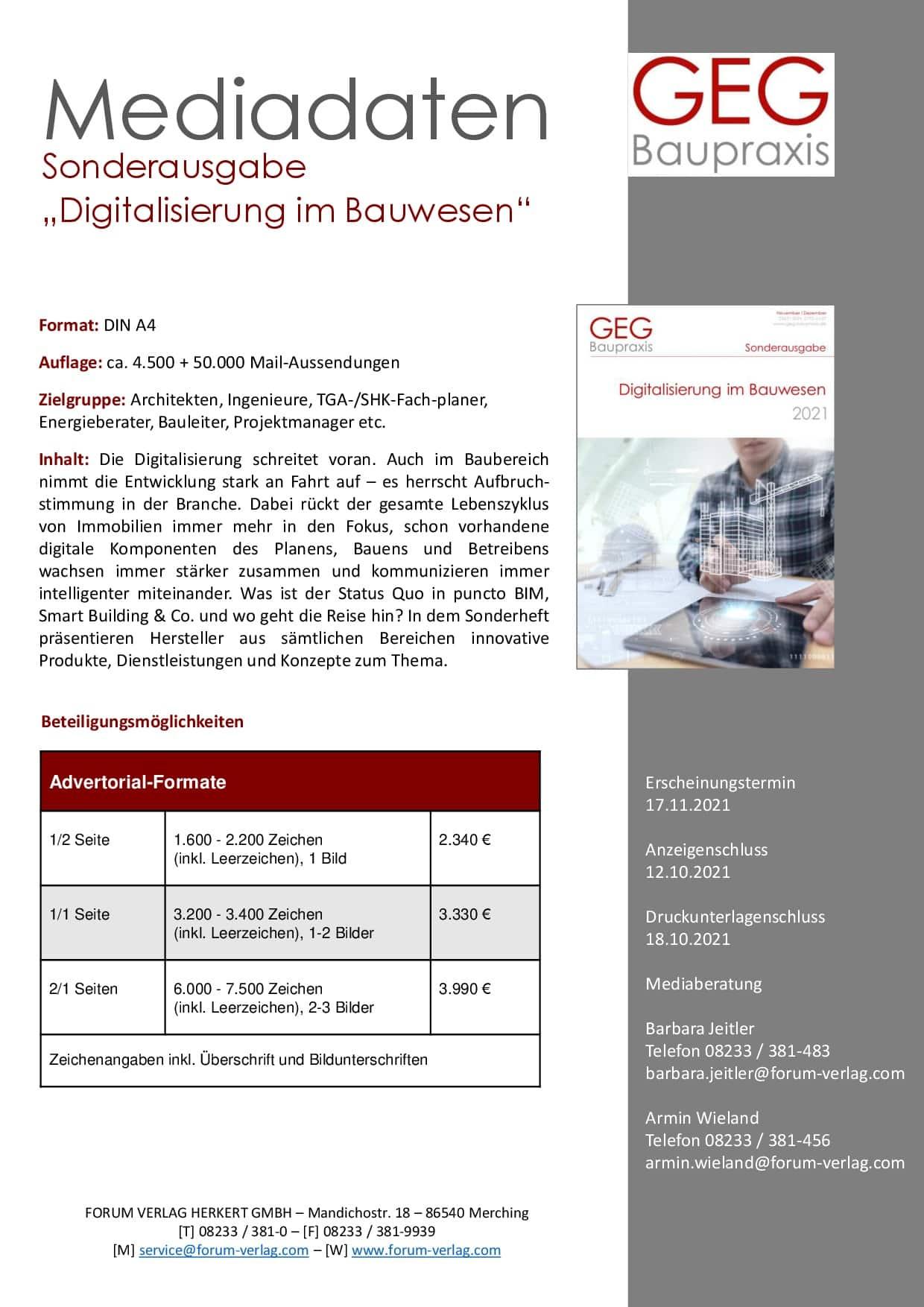 Mediadaten Sonderheft Digitalisierung im Bauwesen